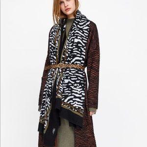 Zara Animal And Chain Print Blanket Scarf New